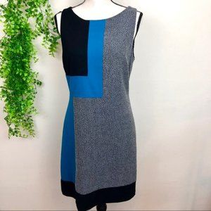 WHBM Color Block Turquoise Midi Sheath Dress sz 6